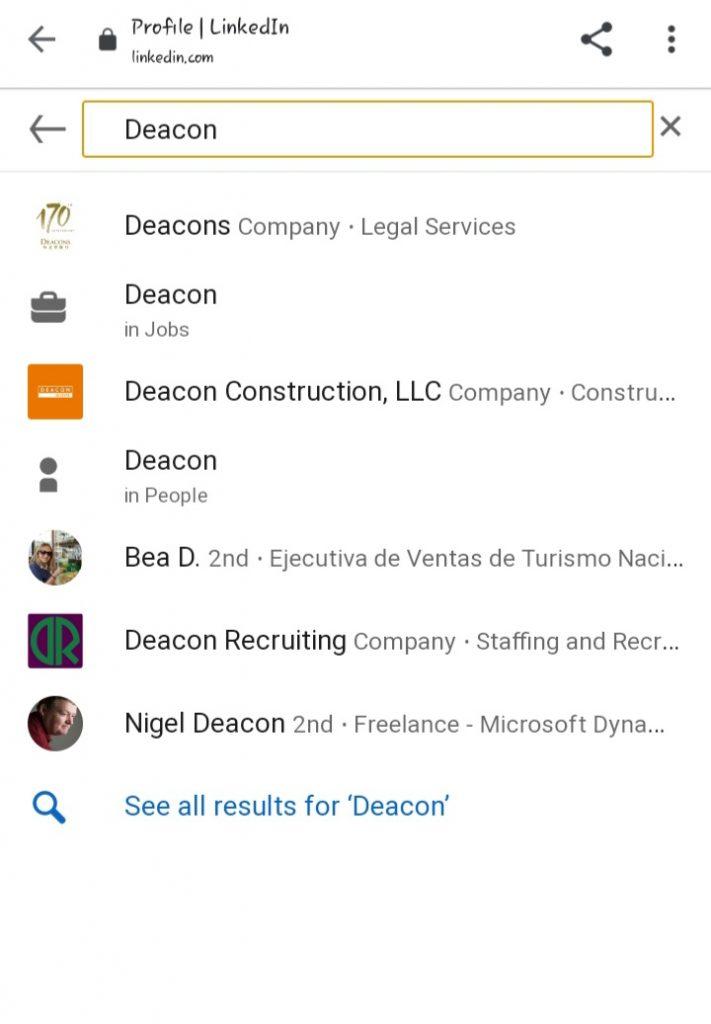 lindedin search companies